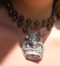 Park Avenue Queen Necklace, Chocolate pearls, pink quartz, vintage elements - can be worn long or doubled as in the pic.