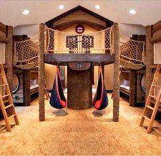 Dream Rooms, Dream Bedroom, Indoor Forts, Kids Fort Indoor, Indoor Jungle Gym, Indoor Swimming, Awesome Bedrooms, Coolest Bedrooms, Cool Bedroom Ideas