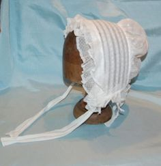 c. 1840 bonnet, adjustable tie at back & chin straps.  ebay seller lily jean