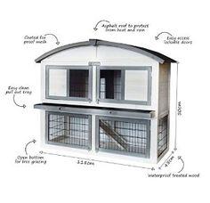 Mansion Rabbit Hutch | Bentley Pets Deluxe Two Storey Wooden Outdoor Guinea Pig Rabbit Hutch...