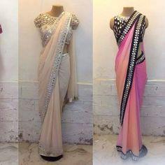 Pretty saree white and pink sarees vit mirror border work Plain Chiffon Saree, Chiffon Saree Party Wear, Party Wear Sarees, Indian Bridal Lehenga, Indian Sarees, Indian Dresses, Indian Outfits, Half Saree Designs, Blouse Designs