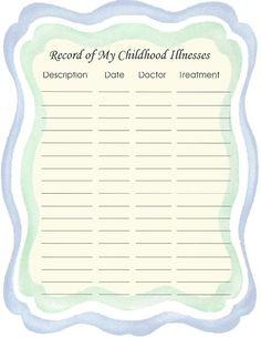 "Free Printable Baby Book Page, ""Childhood Illnesses"""