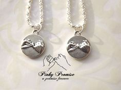 2 Best Friends Necklaces - His Hers Couples Necklace - Pinky Promise Necklace - Boyfriend Girlfriend - Pinky Swear Necklace - Pinkie Couple Necklaces, Best Friend Necklaces, Best Friend Jewelry, Charm Necklaces, Friendship Necklaces, Charm Jewelry, Spike Necklace, Teardrop Necklace, 2 Best Friends