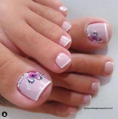Pretty Toe Nails, Pretty Toes, Gorgeous Nails, Cute Nails, Pedicure Designs, Manicure E Pedicure, Mani Pedi, Nail Designs, Nail Salon Design