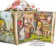 Stamperia Alice Tea Party Treasure Box - Kathy by Design Vinyl Paper, Paper Art, Altered Books, Altered Art, Alice In Wonderland Crafts, Alice Tea Party, Mini Album Tutorial, Mad Hatter Tea, Mad Hatters