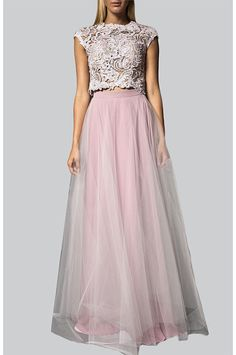 two piece embellished lace top and floor length tulle skirt.. at Label Riot