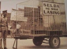 Only in the Philippines? Prison mobile for Drunktard pinoys. I am not sure in what ere is this one. I think during Ferdinand E. Fascist government is fascist! Filipino Culture, Filipiniana, Rare Images, Manila Philippines, The Old Days, Back In Time, Old And New, Nostalgia, Old Things