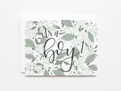 Floral Birth Announcement Card Set | Hand Illustrated It's A Girl Baby Announcement Card Set of 8 with Hand Lettered Calligraphy