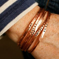 Turn 10 gauge copper wire into a stack of stunning Stamped Wire Bangles with our video and step by step tutorial.