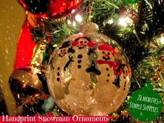 Handprint Snowman Ornaments Kids Christmas Craft - Simple $1 Christmas Ornament - make great handmade gifts from the kids