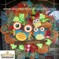 Colorful Welcome Owl Wreath by lilmaddydesigns on Etsy, $95.00