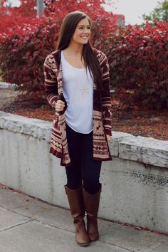 Burgundy Reindeer Print Hooded Knit Cardigan – UOIOnline.com: Women's Clothing Boutique