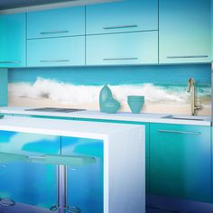 Designed for kitchen splashbacks, showers & bathroom walls. The image will be cropped to fit the size and shape of the splashback panel ordered. Where a direct heat source hob is in use, one of our toughened glass splashbacks should be installed. Kitchen Furniture, Kitchen Interior, Kitchen Design, Urban Furniture, Kitchen Ideas, D House, Beach Images, Turquoise Glass, Glass Kitchen