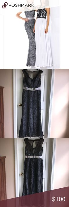 Special Events, Prom, long lace dress Impression bridal dress perfect for prom, ball, special events, wedding or formal occasions. V neck lace over pongee, floor length dress. Natural waist has a satin ribbon band, with black lace over platinum lining. Size: 12. New with tags, never been worn. No alterations have been made to this dress. Length: 59.5 inches. Chest: 17 inches. Waist: 15 inches. Hips: 20 inches. Impression Bridal Dresses Prom