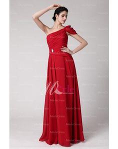 One Shoulder Chiffon Ruffles Rhinestone Floor Length Bridesmaid Dress (in Blush/pink)