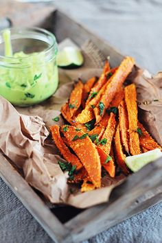 Baked Sweet Potato Fries with Avocado Dipping Sauce (HOLY YUM!)- hands down the best, and healthiest fries I have ever had!