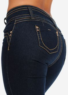 Butt Lifting Skinny Jeans with Contrast Stitch (Dark Wash)