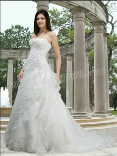 A-Line Gown with A Strapless Neckline and Light Pleating Wedding Dress