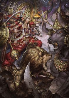 Durga by kevinsidharta on DeviantArt Indian Goddess, Kali Goddess, Goddess Art, Durga Painting, Lord Shiva Painting, Ganesha Art, Krishna Art, Maa Durga Image, Durga Maa