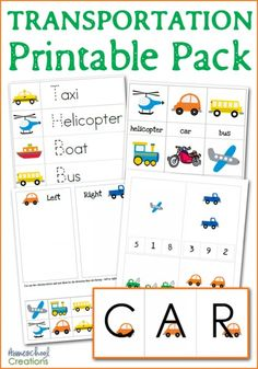Transportation printable pack for preschool and kindergarten - includes first letter sounds, sorting, counting, vocabulary cards, tracing activities and more - from HomeschoolCreations.net