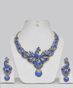 ღღღ  Blue stone peacock jewelry set...