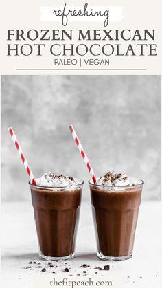 Paleo Hot Chocolate, Frozen Hot Chocolate, Mexican Hot Chocolate, Dark Chocolate Chips, Dairy Free Appetizers, Dairy Free Snacks, Dairy Free Recipes, Vegan Recipes, Drink Recipes