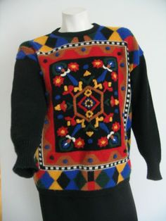 Vintage Retro Kitty Hawk Vivian Want Bill Cosby Colorful Sweater Pullover Size S