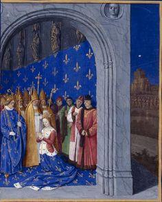 1455-1460 Coronation of Marie de Brabant. Grandes Chroniques de France, enluminées par Jean Fouquet
