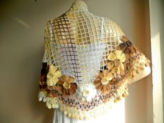 Crochet Wool Shawl Multicolor Lace Scarf Pale by dreamhouse1