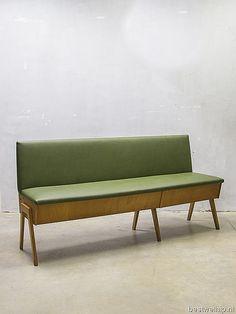 Vintage design eettafel bank industrieel, vintage sofa mid century design  