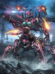 Conceptual Art by Thienhuy. Excellent mecha style & detailing. But the turquoise boobs on a cybernetic killer insect mech is a touch stupid.