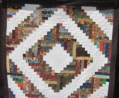Lap Quilt Blanket Log Cabin by KellettKreations on Etsy