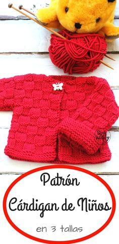 A special design for beginners of the tricot or two needles: Cardigan for children in 3 sizes rnrnSource by Baby Cardigan Knitting Pattern, Baby Knitting Patterns, Knitting Designs, Baby Patterns, Crochet Patterns, Knitting For Kids, Knitting For Beginners, Knitted Baby Clothes, Knitted Hats