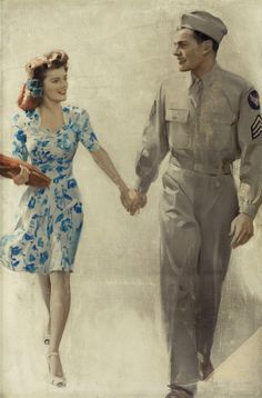 fuckyeahvintage-retro:A Sergeant and his Girl, - Art by Andrew Loomis. Andrew Loomis, Look Vintage, Vintage Ads, Vintage Photos, Vintage Purses, Romance Vintage, 1940s Fashion, Vintage Fashion, Gothic Fashion