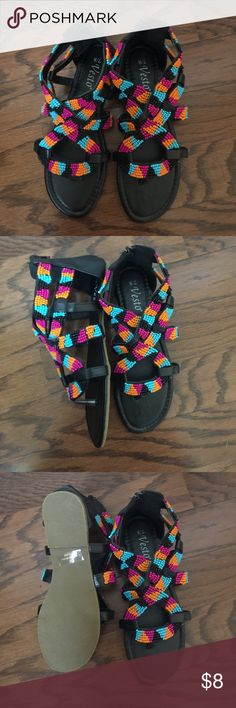 Beaded Sandals women's 7/8 Beaded sandals, women's size 7/8, zippered heel, NWOT. Comes from smoke free home. Good, new condition. Shop.Bundle.Save.Like.Share! Thanks for stopping by! Vesto Shoes Sandals