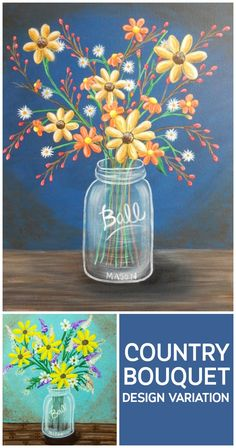 Decorate your home for fall with this fun mason jar with flowers canvas…