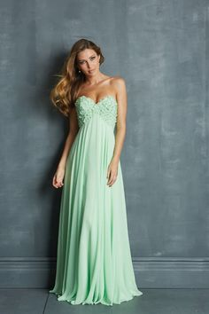 Fresh 2014 Prom Dresses Empire Waist A Line Floor Length With Beads&Handmade Flowers USD 139.99 VP2YKKZQS - VoguePromDresses