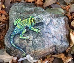 Handpainted riiver rock Collard Lizard