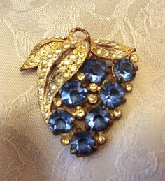 Antique Gold tone, Blue Glass  Art Nouveau  Bunch of Grapes brooch or pendant #Nomark