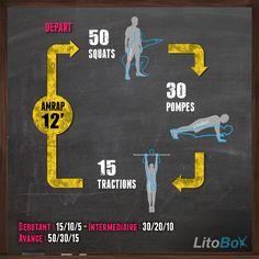 Un petit 1/4 d'heure de CrossFit tout mignon .... TRADUCTION : 12 minutes intensives d'exercices au poids du corps ;) ! Bon courage et bonne journée. #litobox #crossfit