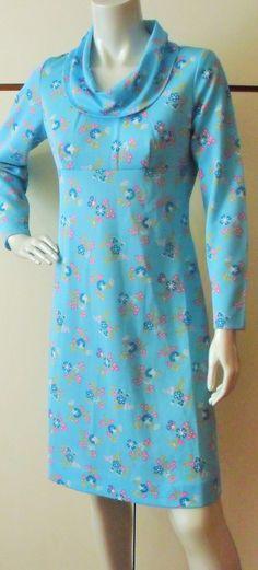 Vintage 1970s Blue floral print cowl neck midi dress UK12-14 (4453) by AuntyDollsWardrobe on Etsy