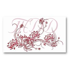 Business Card :: Red Lotus Flower Design Template by MarloDee Designs @ Zazzle
