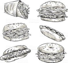 Sandwiches. Fast food. Snacks. Vector sketch. royalty-free stock vector art Burger Drawing, Snack Recipes, Snacks, Cute Drawings, Vector Art, Sandwiches, Royalty, Sketch, Free