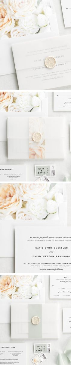 Vellum wedding invitations with dreamy floral envelope liners. Love these!