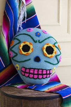 redheartyarns:  Day of the Dead Pillow (LW4904) Free Crochet Pattern in Red Heart Super Saver yarn