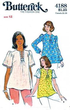 Butterick Sewing Pattern 4188 Maternity Misses Size 12 Pullover Short Long Sleeve Top  $11.99