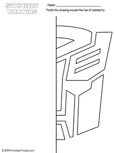 Transformers Autobots Symmetry Drawing Worksheet from PrintableTreats.com