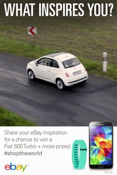 We're celebrating our new ad with a fun sweepstakes! Grab your chance to win a 2015 Fiat 500 Turbo and fabulous other prizes! Watch our new ad http://ebay.to/1sCM6o7 and be sure to enter:   Step 1: Create a pin board of products that are inspirational to you and include #shoptheworld in the title of the board. Step 2: Find more inspiration on eBay and enter daily through November 9th! Read rules: http://ebay.to/1xLssFp