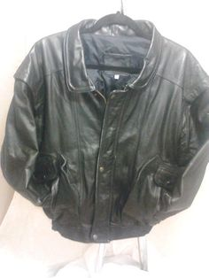 Men's Black Leather Bomber/Flight Jacket,  Size 42 #Unbranded #FlightBomber