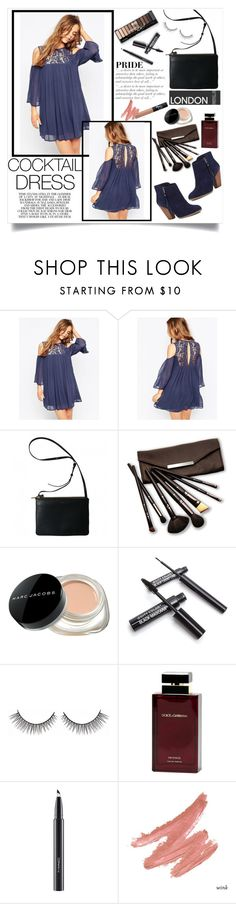 """""""Cocktail Spring"""" by nurmachan ❤ liked on Polyvore featuring ASOS, Sole Society, Borghese, Marc Jacobs, Dolce & Gabbana Fragrance, MAC Cosmetics, NARS Cosmetics, Spring, Blue and navy"""